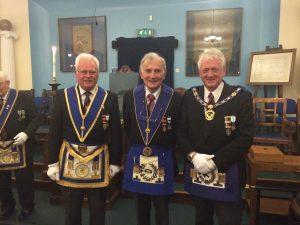 The picture is of W.Bro Huw Evans Prov.Dep.G.Reg (Secretary) W.Bro Tony Ayers PAGSupt.Wks. Prov.G.Orator and W.Bro Geoff Tuck PSGD APGM.