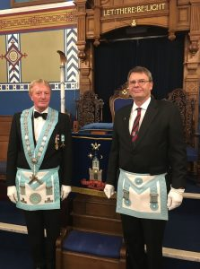 The Worshipful Master with Julian on the Completion of his 3rd Degree.