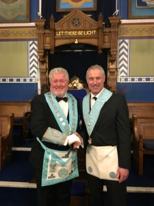 The Worshipful Master Congratulating Gary on the Completion of his 2nd Degree Ceremony.